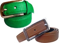 WHOLESOME DEAL Women Formal Multicolor Synthetic Belt Green And Brown