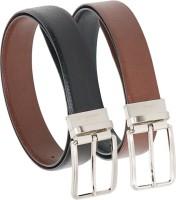 Vermello Men Formal Brown, Black Genuine Leather Reversible Belt Black, Brown