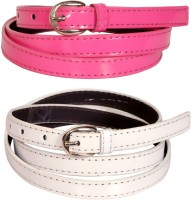 Swan Collection Girls, Women Casual, Formal, Evening Pink, White Artificial Leather Belt Pink & White 08