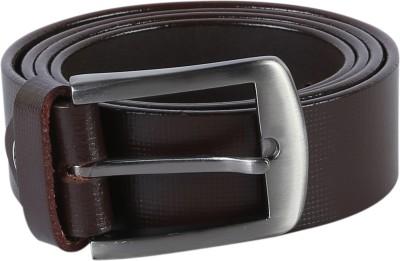 TIE & CUFFS Men Formal, Party Brown Genuine Leather Belt BROWN