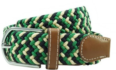 The Tie Hub Men Casual Green Synthetic Belt Green, Black