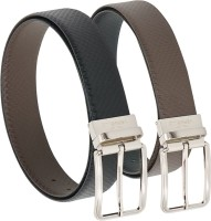 Vermello Men Formal Brown, Black Genuine Leather Reversible Belt Black, Brown - BELE5KYSY4JXWH54