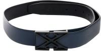 Swiss Design Men Casual Black, Blue Genuine Leather Reversible Belt (Black And Blue)