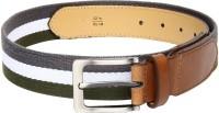 Roadster Men Casual Multicolor Canvas Belt (Olive/White/Grey)