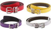 SRS Women Casual Purple, Red, White, Yellow Artificial Leather Belt Purple-Red-White-Yellow-024