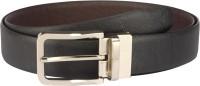 Contrast Men Formal Black Genuine Leather Reversible Belt Black-09