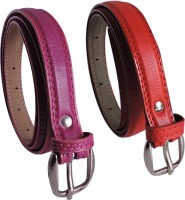 Elligator Women Casual, Formal, Party Maroon, Red Artificial Leather Belt Maroon-05