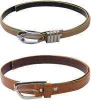 SkyWays Women Casual Beige, Tan Artificial Leather Belt Beige, Tan