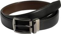 Mustard Men Formal Black Genuine Leather Reversible Belt Black