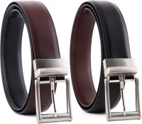 Bluth Men Formal Black Artificial Leather Reversible Belt (Black, Brown)