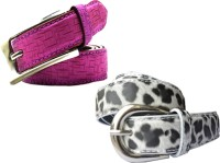WHOLESOME DEAL Women Casual Multicolor Synthetic Belt White And Pink