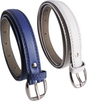 Elligator Women Casual, Formal, Party Blue, White Artificial Leather Belt Blue-05