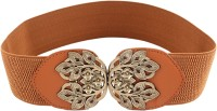 20Dresses Women Casual Gold Artificial Leather Belt Brown, Gold