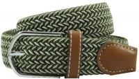 The Tie Hub Men Casual Green Synthetic Belt Green, White