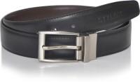 Stylox Men Formal Black Genuine Leather Reversible Belt Black-007