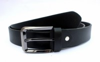 Tops Men Formal Black Genuine Leather Belt (Black)