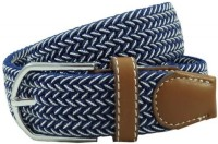 The Tie Hub Men Casual Blue Synthetic Belt Blue, White