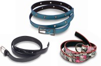 Victoria Secret Women Black, White, Blue Artificial Leather Belt Blue, White, Black