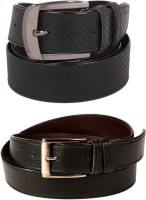Calibro Boys, Men Formal, Casual Black Texas Leatherite Belt Black
