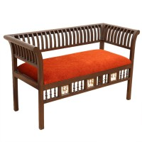 ExclusiveLane Teak Wood Solid Wood 2 Seater (Finish Color - Walnut Brown)