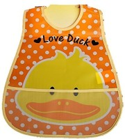 Baby Bucket Soft Plastic Bib With Pocket (Orange)
