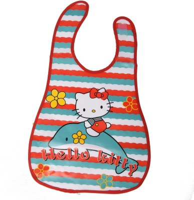Baby Bucket Soft Plastic Bibs With Pocket (Red, Multicolor)