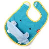 Baby Oodles Cloth Bib With Pocket Hippo (Blue)