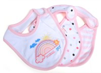 Baby Bucket Soft Cotton Baby Bibs Set Of 3 (Pink)