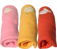 My NewBorn Cartoon Single Dohar Multicolor (AC Dohar, Pack Of 3 Classic Polar Fleece Hooded Pink Beige And Tomato Red Blankets)