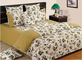 Swayam Floral Double Quilts & Comforters Beige