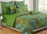 Swayam Colors Of Life Bedding Set (Green, Blue, Yellow, 1 Double Comforter, 2 Cushion Covers, 2 Pillow Covers, 2 Cushion Fillers, 1 Double Bedsheet)