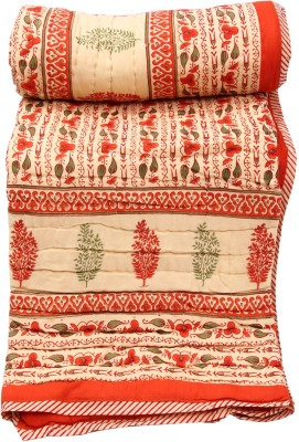 Chhipaprints Orange Border Shades of Paradise Quilt Double