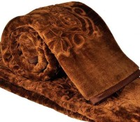 Fab Ferns Plain Double Blanket Brown, Blanket