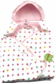 Ahad Printed Single Hooded Baby Blanket Pink