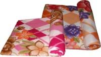 Lakshay Checkered Double Fleece Blanket Orange, Pink