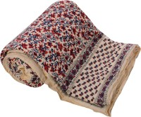 ECraftIndia Floral Double Quilts & Comforters Blue, Red, White One Double Bed High Quality Jaipuri 100% Cotton Quilt