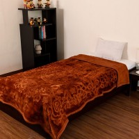 Fab Ferns Plain Double Blanket Orange Mink Blanket, Blanket