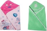 Utc Garments Cartoon, Plain Single Hooded Baby Blanket Light Green, Light Pink, White (Fleece Blanket, 2Blanket)