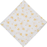Brotherbaby Motifs Single Swadding Baby Blanket White With Yellow