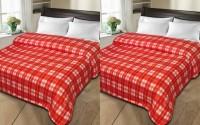 Shopgalore Checkered Single Blanket Red Fleece Blanket, 2 Blanket