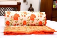 Rangasthali Cotton Printed Quilt/ Razai In Mogul Design - Orange/ Printed Single Blanket (100% Cotton, Multicolor)