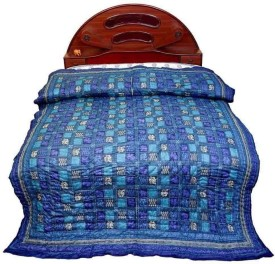 Little India Checkered Double Quilts & Comforters Blue