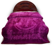 Shine Eshop Embossed Designer Bed Korean Embroidered Double Blanket Purple