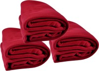 Kema Plain Single Blanket Red Fleece Blanket, 3 Polar Fleece Blanket