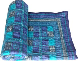 Shoppingtara Checkered Double Quilts & Comforters Blue