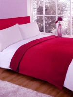 Fabutex Plain Single Blanket Red Fleece Blanket, 2 Blankets