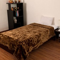 Fab Ferns Plain Double Blanket Brown Mink Blanket, Blanket