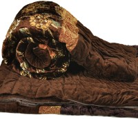 Little India Jaipuri Golden Floral Single Bed Velvet Quilt Modern Ethnic Quilt Single