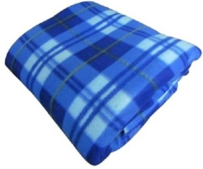 RS Quality Checkered Single Blanket Blue Fleece Blanket, 1 Blue Fleece Blanket