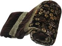 Little India Jaipuri Floral Brown Double Bed Velvet Quilt Modern Ethnic Quilt Double